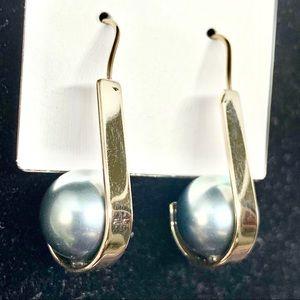 Jewelry - NEW-Blue Pearl & GoldStrips Stylish Dainty Earring